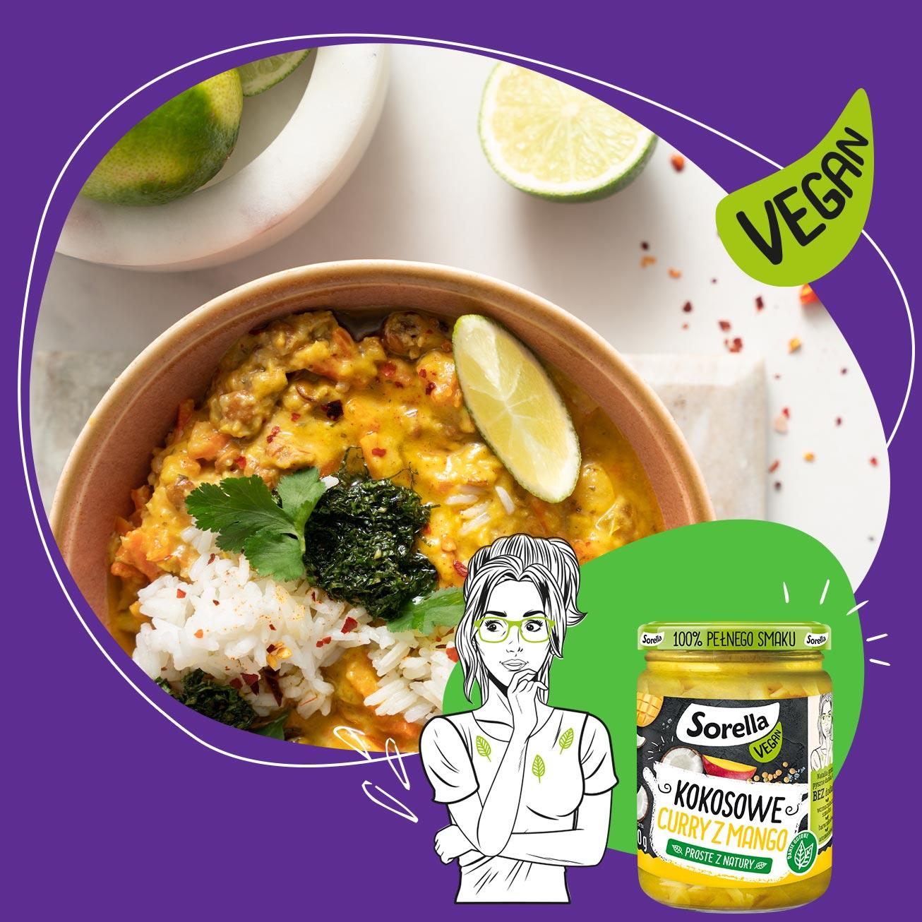 Coconut mango curry with jasmine rice, coriander, and mint salsa