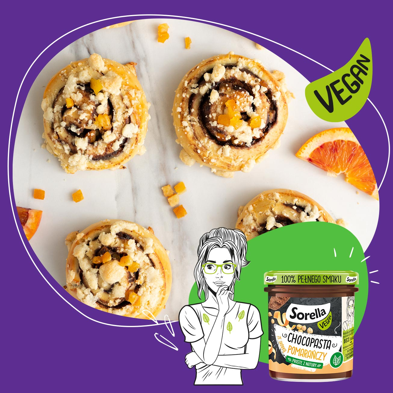 Yeast snails with Sorella Choco pasta with orange peel and almond crumble